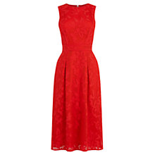 Buy Warehouse Appliqué Lace Midi Dress, Red Online at johnlewis.com