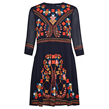 Buy French Connection Embroidered Kiko Dress, Nocturnal/Multi Online at johnlewis.com