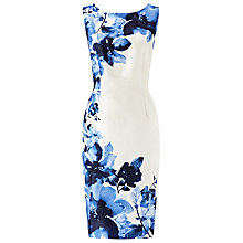 Buy Jacques Vert Digital Print Bead Detail Dress, Cream/Blue Online at johnlewis.com