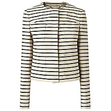 Buy L.K. Bennett Gia Boxy Stripe Jacket, Black Online at johnlewis.com