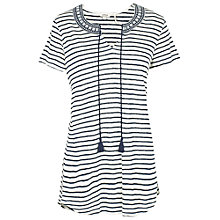 Buy Fat Face Bude Striped Longline Top, Navy Online at johnlewis.com