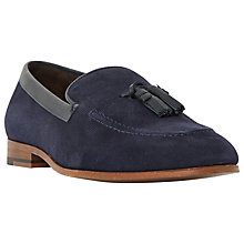 Buy Dune Rutland Textured Suede Tassle Slip-On Loafers, Navy Online at johnlewis.com