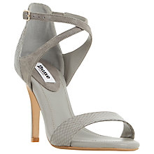 Buy Dune Madeleine Strappy Cross Strap Heeled Sandals, Grey Leather Online at johnlewis.com