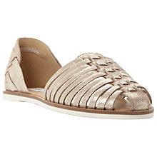 Buy Steve Madden Hillarie Woven Two Part Huarache Shoes, Gold Leather Online at johnlewis.com