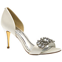Buy Ted Baker Phinium Embellished d'Orsay High Heel Sandals, Light Cream Satin Online at johnlewis.com