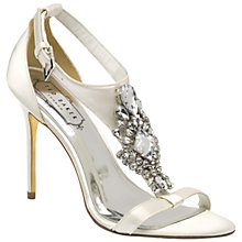 Buy Ted Baker Naiss Embellished Open Toe High Heel Sandals, Light Cream Satin Online at johnlewis.com