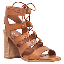 Buy Carvela Kandice Block Heeled Lace Up Sandals, Tan Leather Online at johnlewis.com