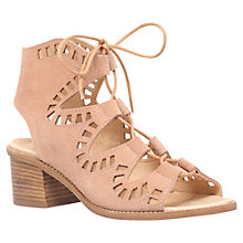 Buy Carvela Cut Out Lace Up Mid Block Heeled Sandals, Nude Suede Online at johnlewis.com