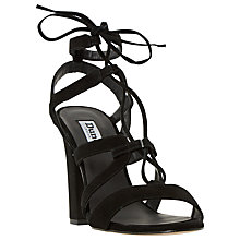 Buy Dune Marlow Ghillie Lace Block Heel Sandals, Black Suede Online at johnlewis.com