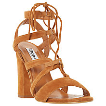 Buy Dune Marlow Ghillie Lace Block Heel Sandals, Tan Suede Online at johnlewis.com