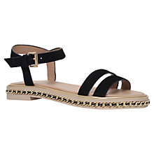 Buy KG by Kurt Geiger Minny Chain Detail Flat Sandals, Black Suede Online at johnlewis.com