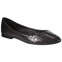 Buy John Lewis Pointed Toe Slip On Pumps, Black Croc Online at johnlewis.com