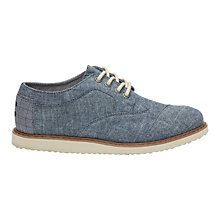 Buy TOMS Children's Lace Youth Brogue, Chambray Blue Online at johnlewis.com