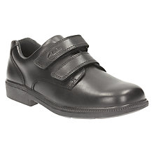 Buy Clarks Children's Deaton Gate Leather School Shoes, Black Online at johnlewis.com