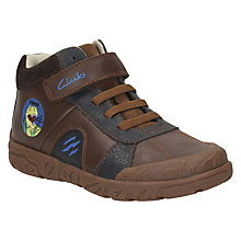 Buy Clarks Children's Bronto Roar Riptape Boots, Brown Online at johnlewis.com