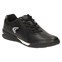 Buy Clarks Children's Award Run Astroturf Leather Trainers, Black Online at johnlewis.com