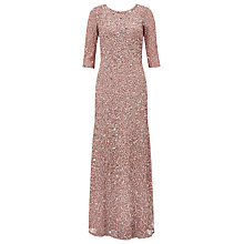 Buy Adrianna Papell Three-Quarter Sleeve Beaded Mermaid Dress, Antique Rose Online at johnlewis.com