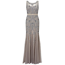 Buy Adrianna Papell Sleeveless Beaded Gown With Godets, Platinum Online at johnlewis.com