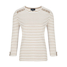 Buy Viyella Striped Button Jersey Top, Natural Online at johnlewis.com