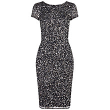 Buy Adrianna Papell Cap Sleeve Beaded Cocktail Dress, Charcoal Online at johnlewis.com