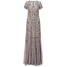 Buy Adrianna Papell Cap Sleeve Beaded Gown With Godets, Platinum Online at johnlewis.com