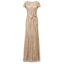 Buy Adrianna Papell Metallic Embroidery Gown With Godets, Rose Gold Online at johnlewis.com