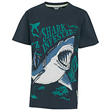 Buy Fat Face Boys' Shark Infested Water T-Shirt, Blue Online at johnlewis.com