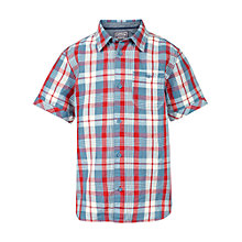 Buy Fat Face Boys' Cornwall Check Short Sleeve Shirt, Red/Blue/White Online at johnlewis.com