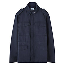 Buy Jigsaw Cotton Linen Field Jacket, Petrol Online at johnlewis.com