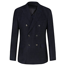 Buy Jigsaw Linen Jacquard Double Breasted Slim Fit Suit Jacket, Navy Online at johnlewis.com