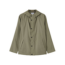 Buy Jigsaw Proofed Linen Hooded Jacket, Khaki Online at johnlewis.com