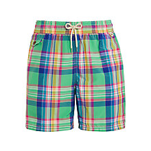 Buy Polo Ralph Lauren Traveller Swim Shorts, Green Neon Plaid Online at johnlewis.com