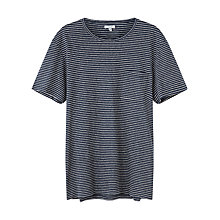 Buy Jigsaw Cotton Linen Stripe T-Shirt, Navy Online at johnlewis.com
