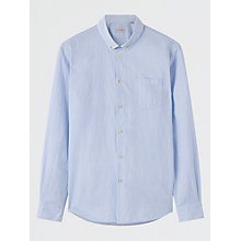 Buy Jigsaw Cotton Horizontal Striped Slim Fit Shirt, Sky Blue Online at johnlewis.com