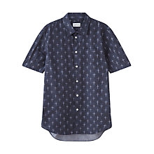 Buy Jigsaw Cross Hatch Print Short Sleeve Shirt, Steel Online at johnlewis.com