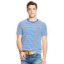 Buy Polo Ralph Lauren Striped Crew Neck Jersey T-Shirt, Bright Royal/White Online at johnlewis.com