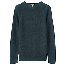 Buy Jigsaw Melange Linen Rib Crew Jumper, Emerald Online at johnlewis.com