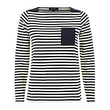 Buy Jaeger Piquet Striped Long Sleeve Top, Navy/Ivory Online at johnlewis.com