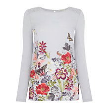 Buy Oasis Sleeved Botanical Front Top, Multi Online at johnlewis.com