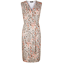 Buy Jaeger Cherry Blossom Wrap Front Dress, Grey/Multi Online at johnlewis.com