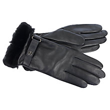 Buy UGG Lizzard Belt Smart Leather Gloves, Black Online at johnlewis.com
