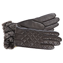 Buy UGG Quilted Smart Leather Gloves, Brown Online at johnlewis.com