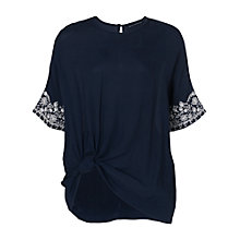 Buy French Connection Jasmine Drape Tie Waist Top, Navy Online at johnlewis.com