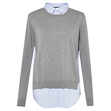 Buy French Connection Mix It Shirt Jumper, Medium Grey/White Online at johnlewis.com