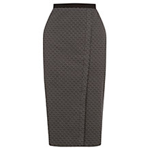 Buy Oasis Geometric Wrap Pencil Skirt, Black/White Online at johnlewis.com