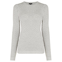 Buy Warehouse Pointelle Puff Sleeve Jumper, Light Grey Online at johnlewis.com