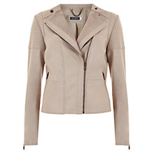 Buy Mint Velvet Collarless Biker Jacket, Pale Pink Online at johnlewis.com