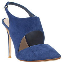 Buy Dune Caprice Cut Out Sling Back Court Shoes, Navy Suede Online at johnlewis.com
