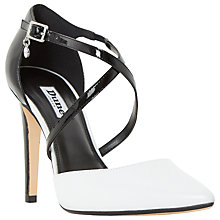 Buy Dune Connie Two Part Pointed Toe Court Shoes, Black/White Online at johnlewis.com