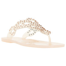 Buy Dune Lexanna Embellished Flip Flops, Nude Online at johnlewis.com